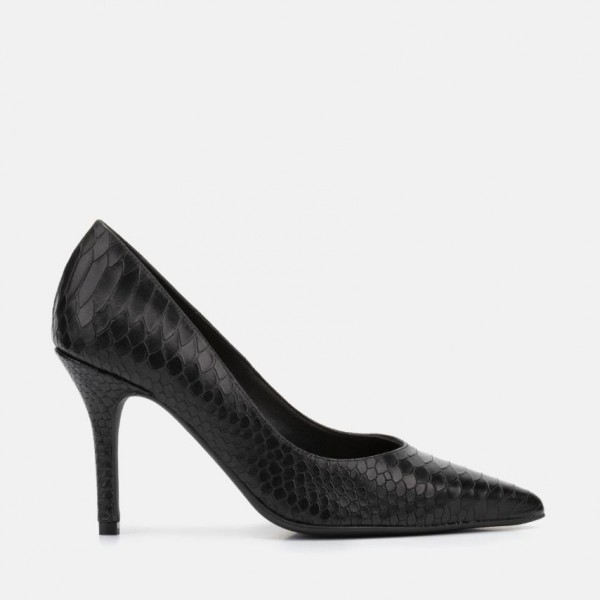 BLACK LEATHER STILETTO - CLARA