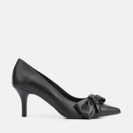 BLACK LEATHER STILETTO - CLOE