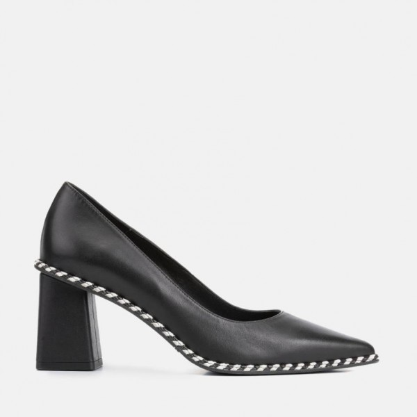 BLACK LEATHER PUMP - CARISA