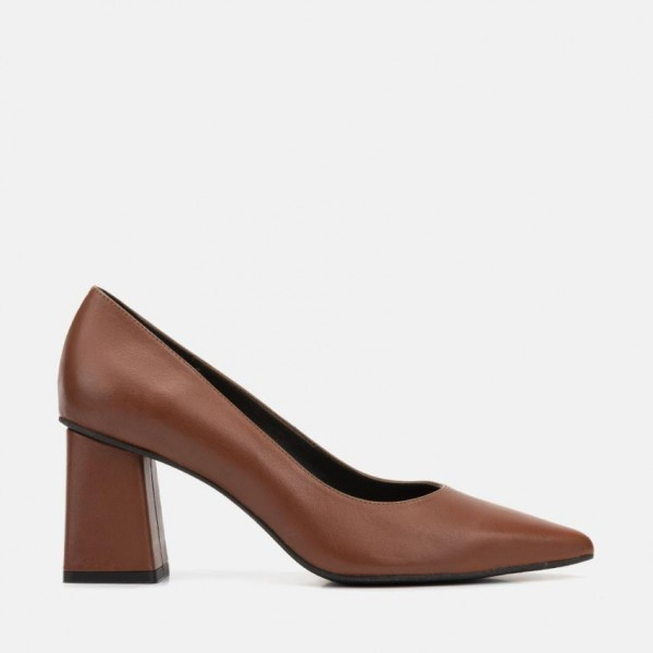 BROWN LEATHER PUMP - CARINA