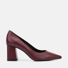 BURGUNDY LEATHER PUMP - CARINA