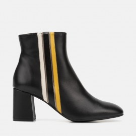 BLACK LEATHER ANKLE BOOT - CAMILA