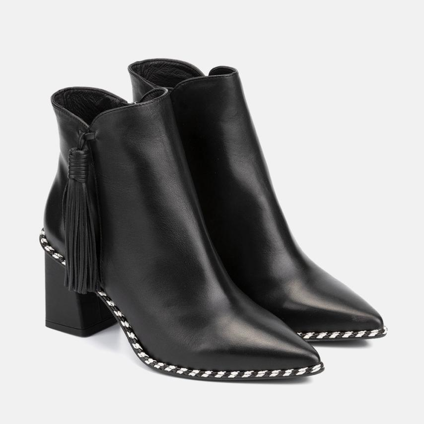 BLACK LEATHER ANKLE BOOT - CARLA