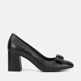 BLACK LEATHER PUMP - CARMELA