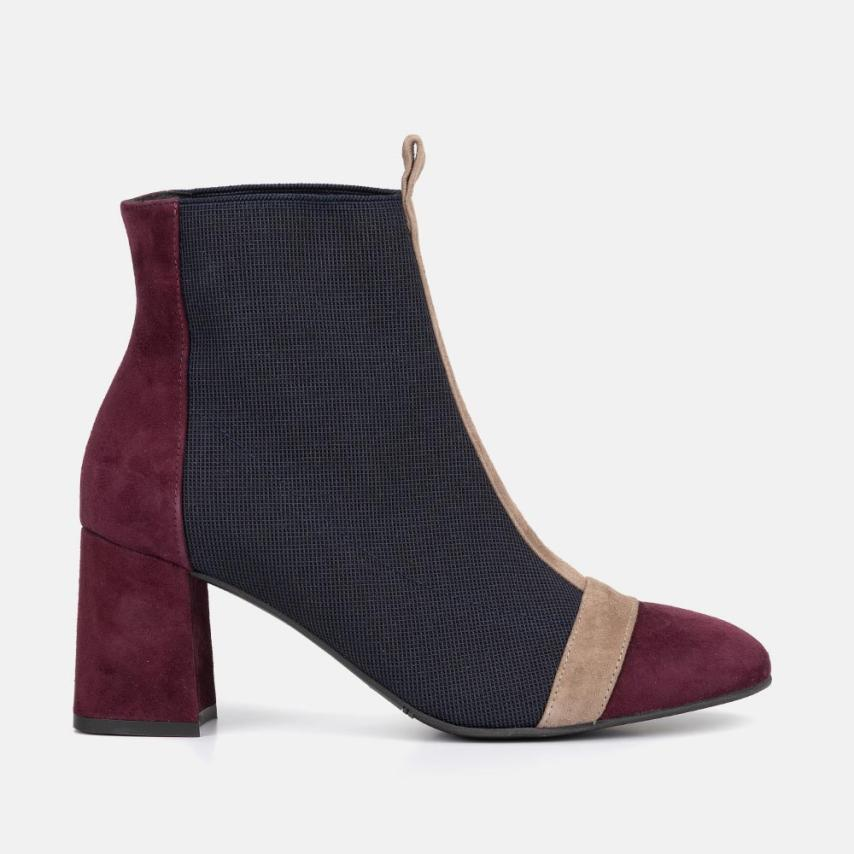 BURGUNDY SUEDE ANKLE BOOT - COLETTE