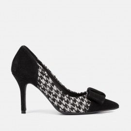 BLACK SUEDE AND TWEED STILETTO - CAYETANA