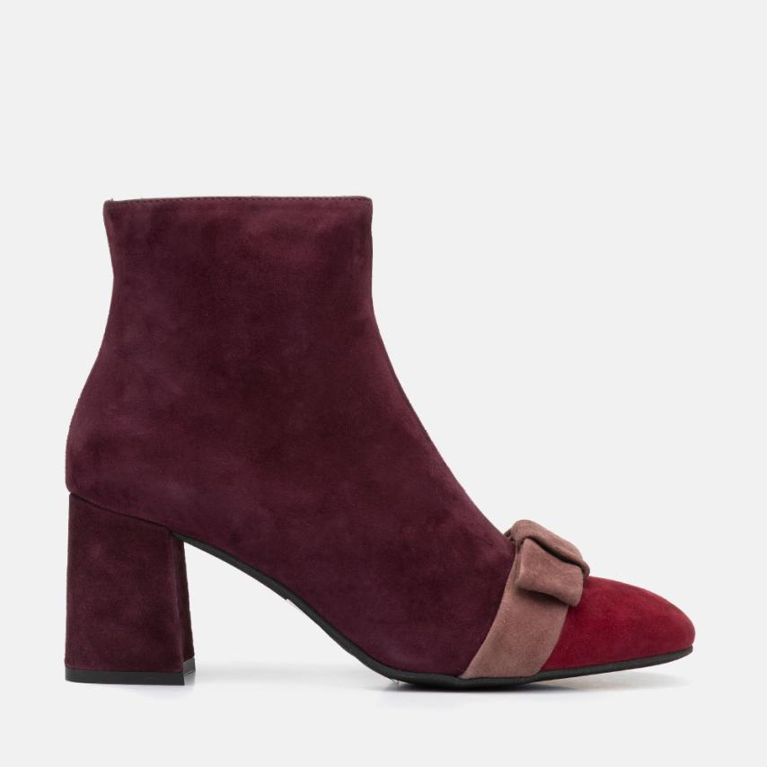 BURGUNDY SUEDE ANKLE BOOT - CARMEN