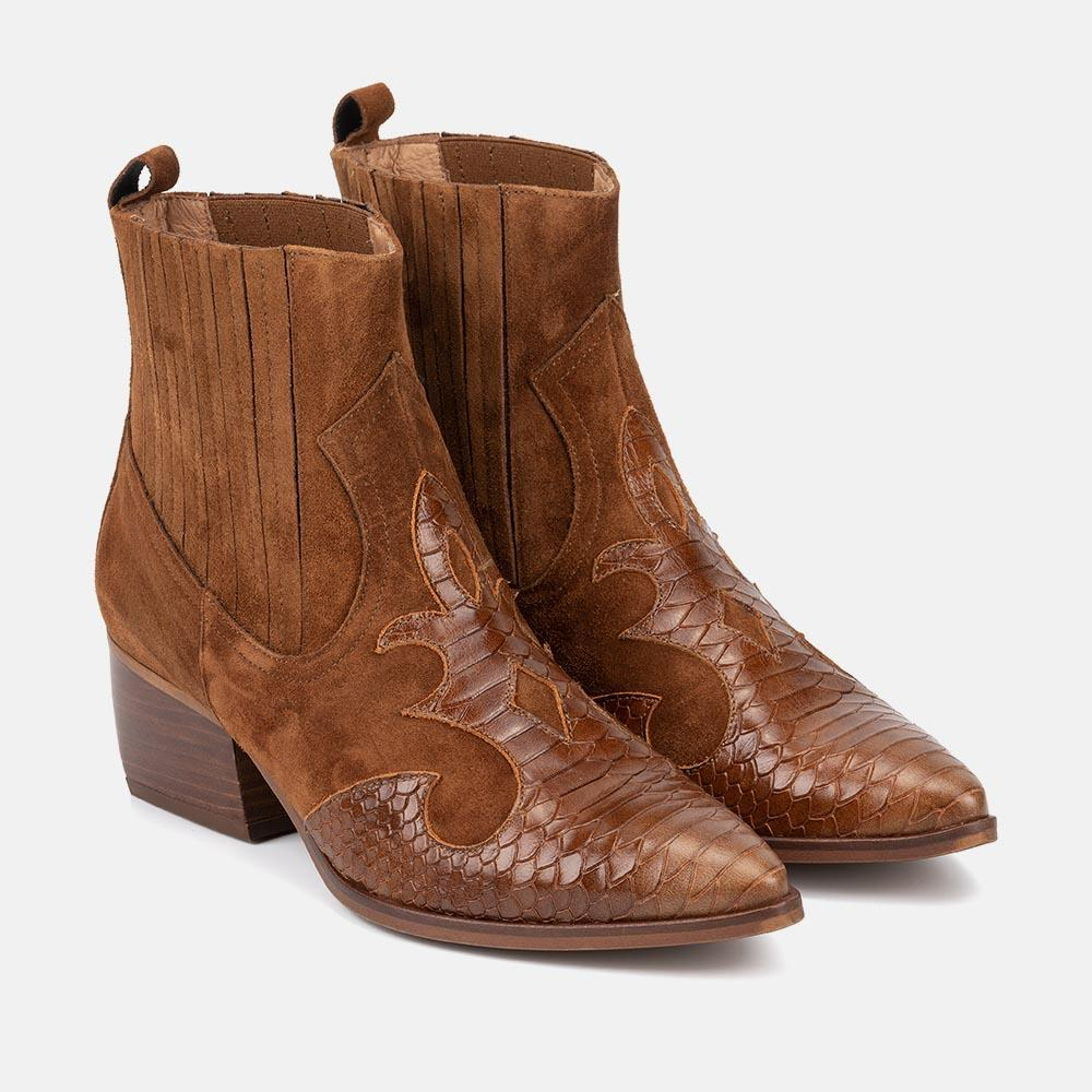 COWBOY LEATHER ANKLE BOOT - COLUMBIA