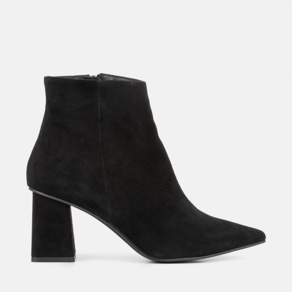 BLACK SUEDE ANKLE BOOT - CATERINA