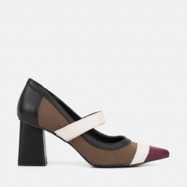 BLACK/BURGUNDY LEATHER PUMP - CRISTINA