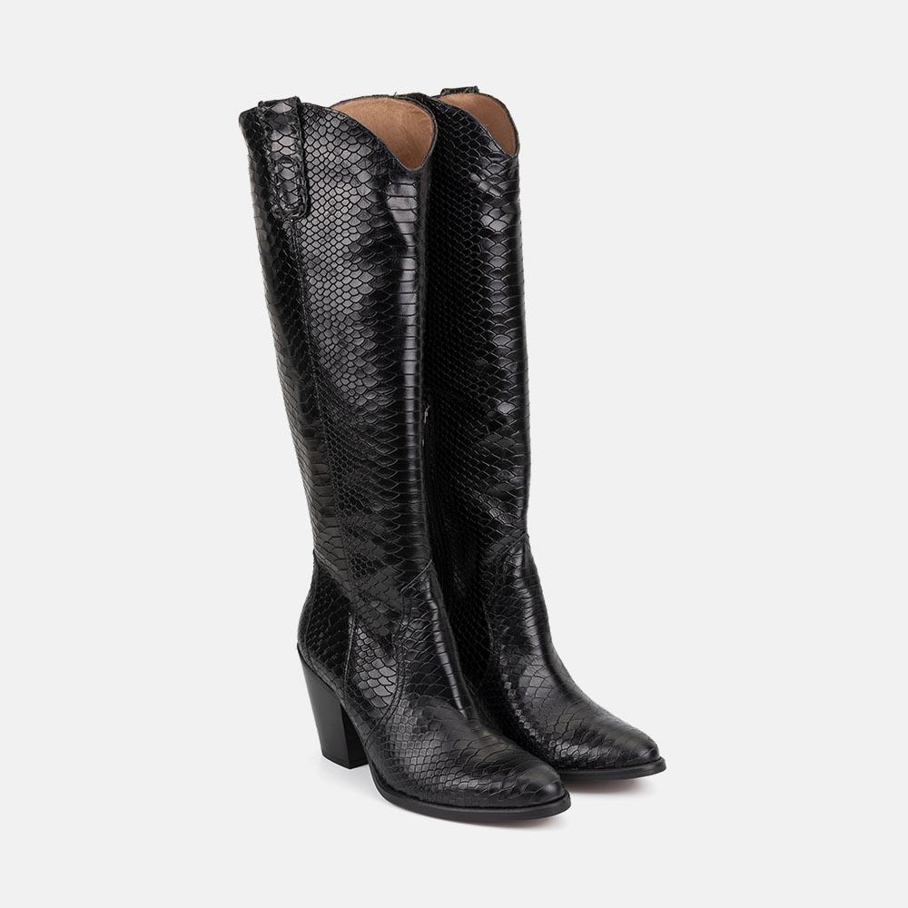 BLACK LEATHER COWBOY BOOT - CORINA