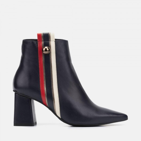 NAVY LEATHER ANKLE BOOT - CAROLA