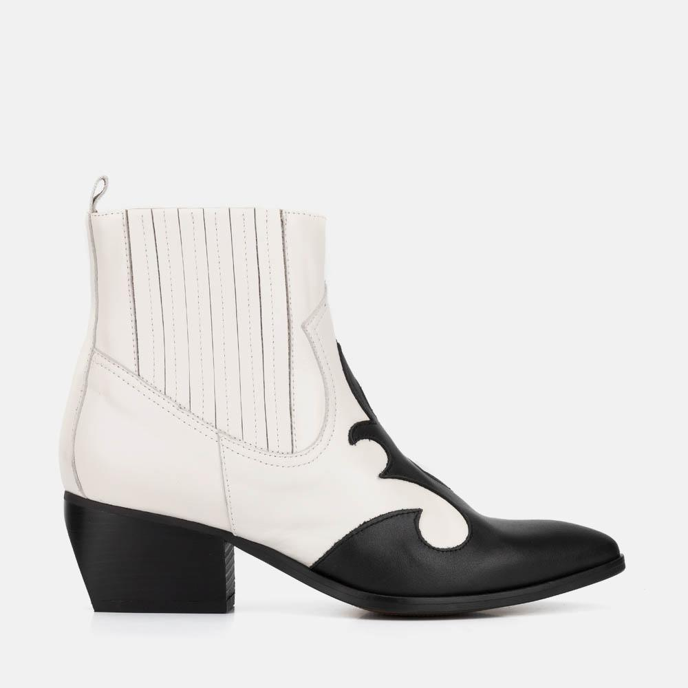 COWBOY BLACK AND WHITE LEATHER ANKLE BOOT - COLUMBIA