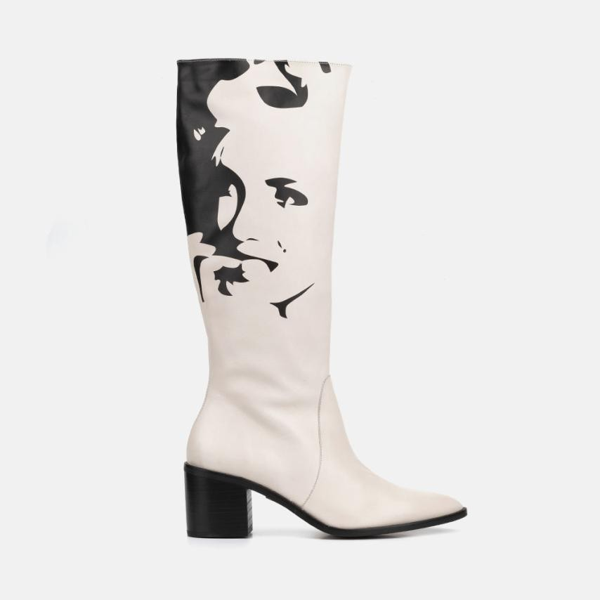 BEIGE LEATHER BOOT - MARILYN