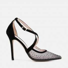 BLACK SUEDE STILETTO WITH JEWELS - DIAMANTE