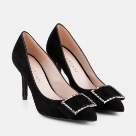 BLACK SUEDE STILETTO WITH JEWELS - DELIA
